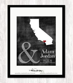 PERSONALIZED WEDDING MAP #2: BRIDE & GROOM, DATE & LOCATION - ANY STAT – Willow & Olive