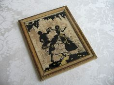 Vintage Silhouette Man Woman Dancing Minuet Reverse Painted Wall Art Print By Reliance Picture Frame Co. USA, Gold Black Carved Wood Frame by vintagenowandthen on Etsy