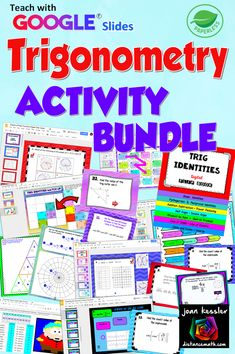 Over 20 engaging Paperless NO PREP digital activities for Trigonometry and PreCalculus. Your students will learn and explore Trig topics with a wide variety of activities for Google™ Slides including digital task Cards, puzzles, digital flip books, matching,mazes, and more. Interactive Activities, Math Resources, Algebra Formulas, Geometry Lessons, Math Notes, Precalculus, Math Courses, Flip Books