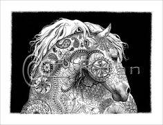 Zen Horse print of original pen & ink by CrazyWomanDesigns208