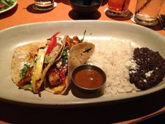 TACOS CAMARONES - garlic adobo white shrimp, jicama slaw, tomatoes, mango, crema, queso fresco w/ rice and beans at Meso Maya, Dallas - August, 2012