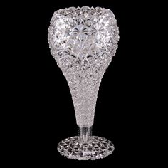"""American Brilliant Period Cut Glass Chalice Vase - 11.5"""" Russian Pattern Attributed to J. Hoare. Crystal Glassware, Glass Artwork, Pattern Cutting, Cut Glass, Auction, Stars, Crystals, Woody, Vases"""
