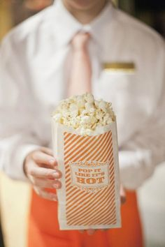 """""""pop it like it's hot"""" branded popcorn bags for wedding after party a popcorn bar with caramel and butter and things Wedding Who Pays, Dream Wedding, Post Wedding, Grey Wedding Decor, Wedding Decorations, Movie Party, Party Time, Just In Case, Just For You"""