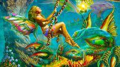 Fairy and dragon swing cg girl digital art HD Wallpaper