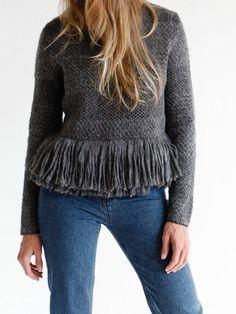 Rachel Comey Fringe Crewneck Pullover - Charcoal