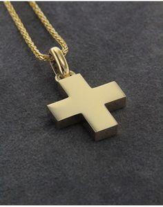 Σταυρός βαπτιστικός χρυσός Κ14 Cross Jewelry, Cross Pendant, Christening, Arrow Necklace, Man Gifts, Jewelry Design, Pendants, Earrings, Jewelry Findings