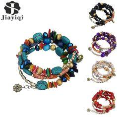 [Visit to Buy] 2017 New Hot Bohemian Charm Bracelet Crystal Nature Stone Shell Wood Wrap Bracelets For Women Fashion Jewelry Boho Bangles #Advertisement