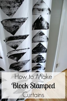 How to make geometric block stamped curtains. This chic and easy project is a budget friendly way to make custom curtains! Fifty Two Weekends (...of DIY)