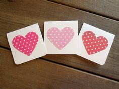 Heart Valentine's Day Cards-Red and Pink Valentines-Kid's Valentines-Mini Valentines Card Set by Lemon Drops & Lilacs on etsy.com