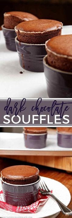 Let's celebrate Valentine's Day with these gooey, decadent and delicious Dark Chocolate SouffleŽs, which come together quickly and bake up nicely. The perfect dessert if you're holding a stay-at-home Valentine's celebration this year! Easy Desserts, Delicious Desserts, Dessert Recipes, Yummy Food, Healthy Desserts, Cupcakes, Cupcake Cakes, Souffle Recipes, Chocolate Souffle