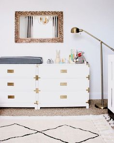 In need of a little nursery inspo? 👶🏼 Head over to Style Me Pretty Living and see how Ashley Cooper Design created a modern, sophisticated space for her baby boy using our Carlyle Campaign Dressers. Sophisticated Nursery, Ebony Color, Campaign Dresser, Style Me Pretty Living, Baby L, Super Mom, Baby Needs, Baby Boy Nurseries, Girl Room
