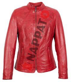 Large sizes of ladys leather jacket 998 Red