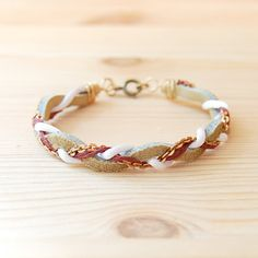 Bohemian Brass & Leather Bracelet: Lavender, White and Taupe