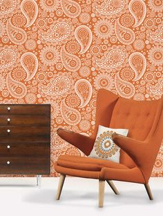I love paisley.  This wallpaper is awesome, but I don't know if I could handle a whole wall of it.  Maybe just as an accent.