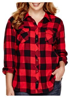 """""""Red flanel"""" by ecoble16 ❤ liked on Polyvore featuring мода, Arizona и plus size clothing"""