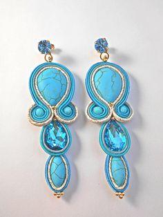 Orecchini soutache e turchesi Guarda questo articolo nel mio negozio Etsy https://www.etsy.com/it/listing/540802087/soutache-earrings-turquoise-orecchini