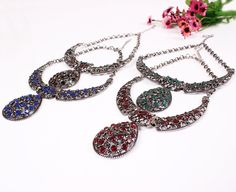 Fashion Alloy Exaggeration Water Drop Shape Pendant Inlaid Drill Women Ladies Jewelry Necklace