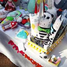 Stuffed animal soft toys - cat, polar bear, panda, bunny and elephant - pillows and baby rattles - by PinkNounou