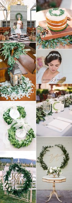 Laurel leaf and wreath details create an envy-inducing wedding theme that's feminine, elegant and oh-so-gorgeous....