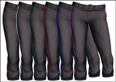 Easton Women's Pro Low Rise Fastpitch Softball Pant with Piping - Black