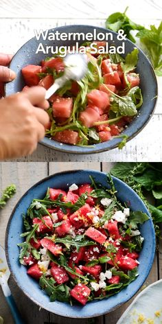Watermelon Salad Recipes, Fresh Salad Recipes, Healthy Salad Recipes, Vegetarian Recipes, Food Recipes Summer, Medeteranian Recipes, Halloumi Salad Recipes, Healthy Recipes, Crunches
