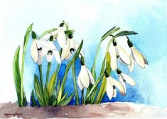 """Original watercolor painting 5x7 - """"Late autumn, Early spring, Snowdrops"""", in watercolor reserved for Susan, Commissioned painting"""