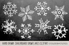Check out Hand Drawn Chalky Snowflake Clipart by Colors on Paper on Creative… Winter Christmas, Christmas Time, Christmas Crafts, Christmas Decorations, Xmas, Christmas Chalkboard Art, Italian Christmas, Christmas Clipart, Christmas Ornaments