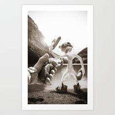 Naked Cowboy (sepia) Art Print by Martin Misik - $15.00 // #print #art #sculpting #clay #cowboy #naked #gun #revolver #gun #society6 #lake #alcohol #bottle #fun #humor #landscape #handmade #sculpey #vintage #retro #sepia