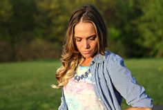 Watercolor Dress with gingham shirt