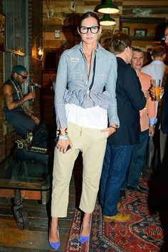 16 Fashion Risks That Seriously Paid Off #refinery29  http://www.refinery29.com/fashion-risks#slide6  All hail Jenna Lyons, queen of the quirkified basic. Her denim jacket? Ruffly and peplum-hemmed. Her white T-shirt? A tad longer than most. Her chinos? Ever so slightly drop-crotch. She is the patron saint of maximal minimalism.