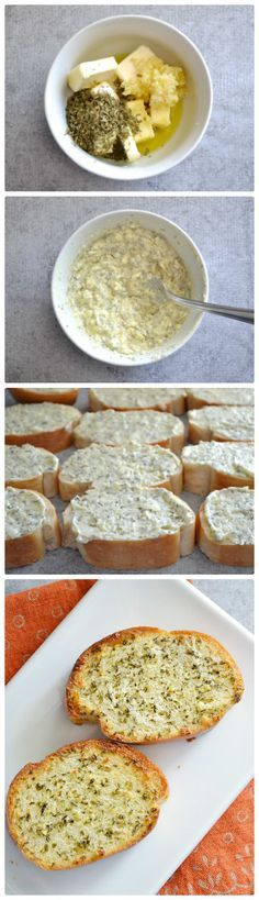 It's very easy to transform regular bread into garlic bread. You need just to combine butter garlic, dried parsley and olive oil. I Love Food, Good Food, Yummy Food, Freezer Cooking, Cooking Recipes, Freezer Recipes, Drink Recipes, Cooking Tips, Freezer Desserts