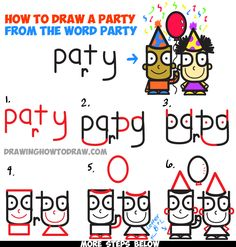 "Learn How to Draw Cartoon Kids Partying from the Word ""Party"" in Simple Step by Step Drawing Tutorial for Kids"