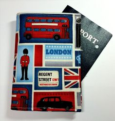 Passport case / passport holder / passport cover by dizzlePOP -- London! Travel Must Haves, Passport Cover, Travel Trip, London, Etsy, Unique Jewelry, Handmade Gifts, Hand Made, Kid Craft Gifts