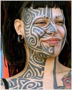 facial tatoo on girls