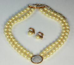 Avon Faux Pearl and Rhinestone Set Necklace Clip by PastSplendors