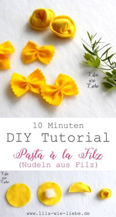 Pasta for the shop: DIY - purple like love-Nudeln für den Kaufladen: DIY – Lila wie Liebe DIY tutorials for Farfalle and Tortellini. Pasta made of felt, for doll kitchens and shops. Step-by-step instructions, free of charge! Felt Diy, Felt Crafts, Diy For Kids, Crafts For Kids, Easy Crafts, Comida Diy, Felt Food Patterns, Kids Patterns, Childrens Shop