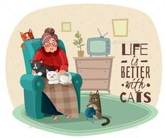 Buy Lady in Armchair Cats Illustration by macrovector on GraphicRiver. Old lady in armchair with cats during leisure in home interior, phrase about life vector illustration Green Armchair, Sitting Poses, Lady, Android, Home Logo, Logo Images, Banner Design, Graphic Design Art, Vector Design