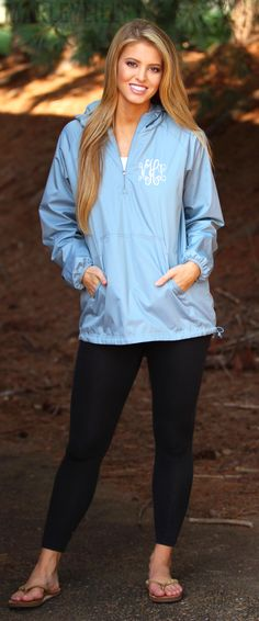 Shop this perfect rainy day essential ON SALE NOW! Personalize your own Monogrammed Pullover Rain Jacket today!