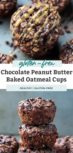 Say hello to your new favorite quick and easy protein-packed breakfast - with chocolate! These chocolate peanut butter baked oatmeal cups are outrageous - in the most delicious but healthy way possible. Made with wholesome oats and naturally sweetened with honey, these gluten free oatmeal muffins are perfect for an on the go breakfast or snack. #oatmeal #glutenfree #breakfast #healthysnacks #onthego Peanut Butter Roll, Peanut Butter Recipes, Chocolate Peanut Butter, Chocolate Recipes, Baked Oatmeal Cups, Oatmeal Muffins, Protein Oatmeal, Protein Muffins, Protein Cookies