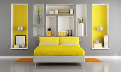 Yellow And Gray Modern Bedroom With Double Bed And Niche Rendering Grey And Yellow Bedroom Best 8 On Home Design Yellow Gray Bedroom, Grey Bedroom Decor, Modern Bedroom Design, Contemporary Bedroom, Bedroom Furniture, Bedroom Ideas, Bedroom Designs, Grey Yellow, Yellow Accents