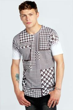 Multi Scale Dogtooth Sublimation Printed T Shirt at boohoo.com - that should be mine!