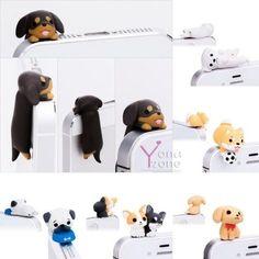 Lovely 3 5mm Puppy Mobile Phone Ear Cap Cute Little Dog Anti Dust Jack Plug | eBay