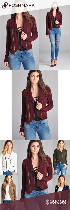🆕 ON SALE🆕Zip Up Moto Jacket in WINE 🆕 ON SALE🆕Zip Up Moto Jacket in WINE Color ~ Deep Red / Red Wine  Fabric ~ 92% Polyester / 8% Spandex  This season's HOTTEST color combine with this season's HOTTEST jacket in this GORGEOUSLY DELICIOUS Deep Red Wine Moto Jacket!! Get yours before they're all gone!!🍂🍂🍂 WILA Jackets & Coats Utility Jackets