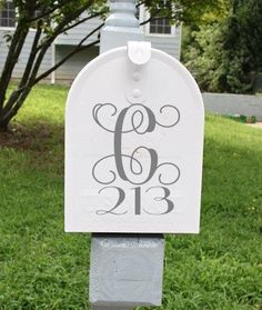 1 Custom Beautiful Monogram Mailbox Decal Mailbox Decal Personalized Mailbox Street Address Decal ANY COLOR by ATCdesigns on Etsy