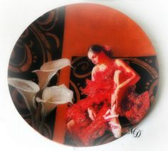 Decoration under and above glass: red dancer