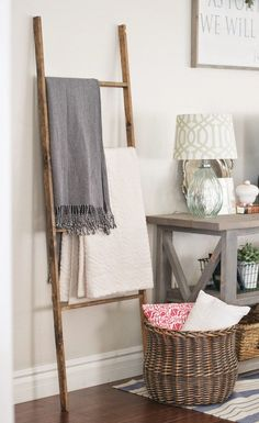 DIY Blanket Ladder. | Paddington Way. This would look nice in the living room corner.