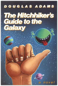 The Hitchhiker's Guide to the Galaxy- Douglas Adams. Earth is being destroyed to make way for an intergalactic highway, Human Arthur Dent and his space travelling buddy Ford Prefect hitch a ride on the Vogon planet destruction fleet. Don't panic and always carry a towel!