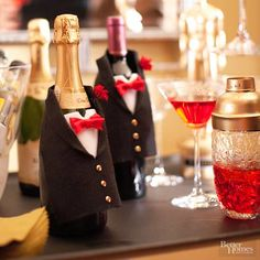 Gussy up bottles of bubbly in felt tuxedos embellished with bow ties and gold-brad buttons. /