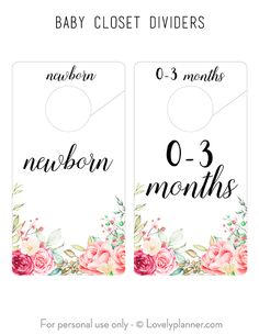 Free Printable Baby Closet Dividers with Shabby Chic Flowers design to help you decorate your little girl's nursery and organize baby's clothes. Also an easy and cheap DIY Baby Shower Gift Idea. Baby Clothes Dividers, Closet Dividers, Boutique Interior, Baby Girl Closet, Beautiful Closets, Shabby Chic Flowers, Girl Nursery, Nursery Room, Nursery Ideas
