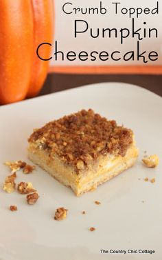 Crumb Topped Pumpkin Cheesecake -- make this wonderful fall dessert for your family this week.  A wonderful pumpkin flavored cheesecake with a crunchy topping that includes walnuts and cinnamon.  A perfect addition to your Thanksgiving feast!  Let this one replace the standard pumpkin pie.